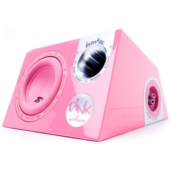 "In Phase InPhase 10"" 1200W Pink Sub Enclosure (XTPP10) - Car Audio Centre"